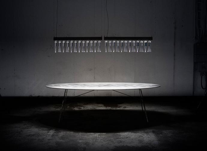 Prismi. Lamp with crystal prism. Lena Bergström Design.