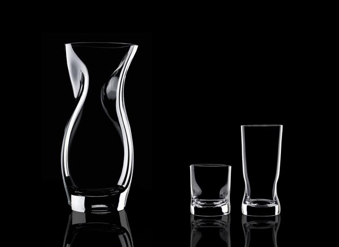 Squeeze crystal vases. Design Lena Bergström for Orrefors 1996
