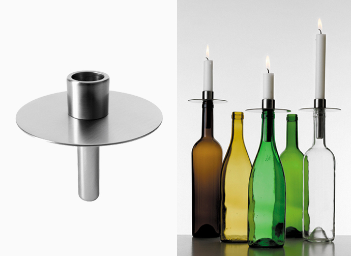 Toplight candleholder in steel. Design Lena Bergström.